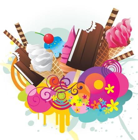 アイス クリーム色のベクトルのデザイン