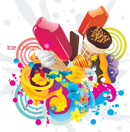 ice creams color vector design