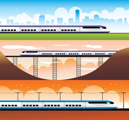 modern trains illustration