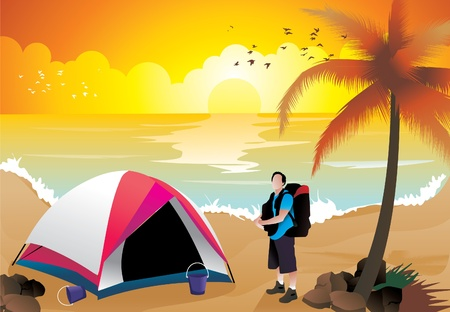 camping in the beach illustration