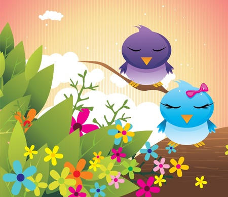 cartoon birds in love vector illustration