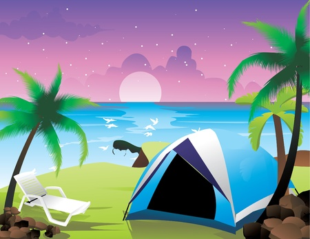 camping near the sea vector