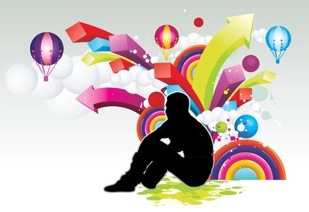 Hombre sentado rodeado de vector de colores Foto de archivo - 10066847