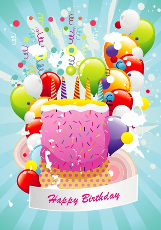 happy birthday illustration Illustration
