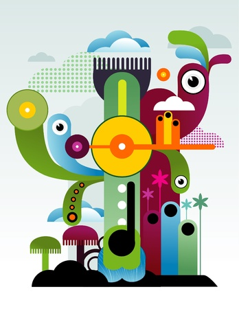 abstract city and characters vector Stock Vector - 11977994