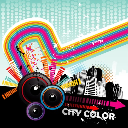 music in the city vector Stock Vector - 12772700