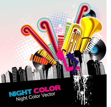 music in the city vector Stock Vector - 12772701