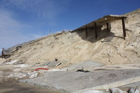 Erosion at sea. Rising sea levels destroy the dunes and the beaches disappear. Biscarrosse. French Atlantic.