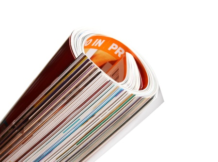 Isolated Rolled Up Full Colour Glossy Magazine Stock Photo - 11584047