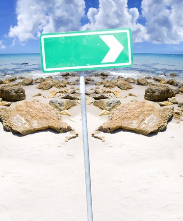 Holiday This Way Concept With Arrow Point Right On A Sign At A Beautiful Rocky Tropical Paradise Beach Landscape In A Advertising Marketing And Tourism Concept Stock Photo - 11584082