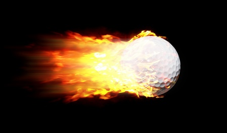 Flying Golf Ball In Motion Shooting Quick In A Fire Ball Or Flame Ball Isolated On Black photo