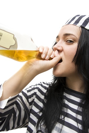 Drinking Detainee Lifts Her Spirits While Doing Time And A Bottle Of Scotch Stock Photo - 11589871