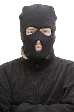 Head And Upper Body Portrait Of An Isolated Burglar Wearing A Burglar Balaclava Stock Photo - 11584516