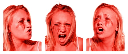 Emotionally Charged Woman Showing All The Signs Of An Emotional Breakdown In Expressions Of Stress Anger And Sadness Stock Photo - 11589959