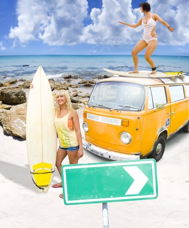 Surfing Holiday This Way Is A Surf Fun Sand And Sun Concept With Two Australian Female Surfer Girls Playing On A Beach While On Vacation In Down Under Australia photo