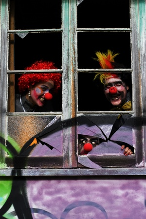 Clowns Ghouls And Freaks Partying It Up Inside A Scary Haunted House At A Party Celebration During Halloween Stock Photo - 11589953