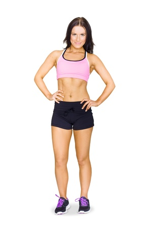 Full Body Studio Portrait Of A Sexy Fit Healthy And Active Young Brunette Woman Wearing Athlete Sportswear Isolated On White Background photo