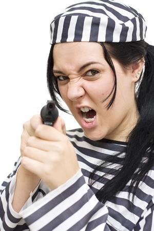 Female Felon Breaks Out A Firearm During A Prison Breakout Stock Photo - 11584590
