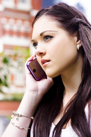 Face Of A Beautiful Business Woman On A Smart Mobile Teleconference Phone Call To An Executive Client When Standing Outdoor In A Communication Concept Stock Photo - 11589879