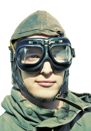 Wartime Pilot Portraiture Stylised In Retro Colours photo