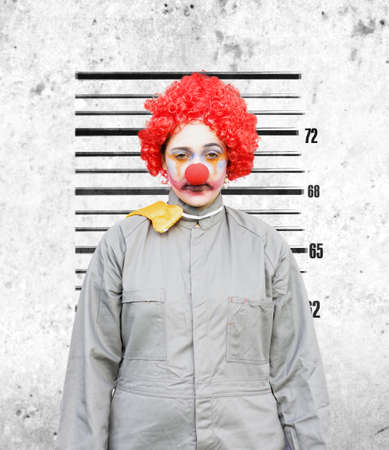 Clown Woman Gets Her Police Criminal Record Photograph Taken Down The Police Station After Being Caught In The Act Stock Photo - 12863926