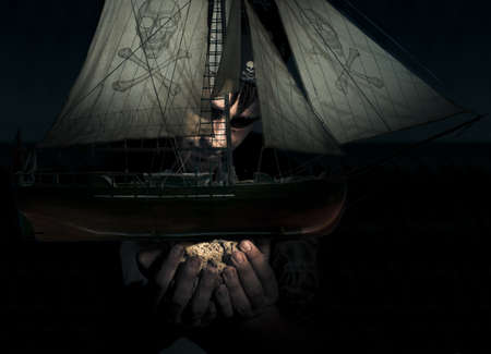 Dark Supernatural And Mysterious Adventure Concept With A Giant Pirate Holding A Captured Pirate Ship Symbolizing A Quest Of Voyage And Exploration photo