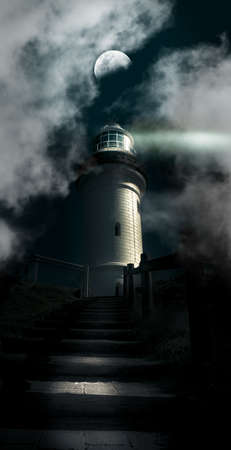 Dark Atmospheric Lighthouse Shining A Beacon Off Into The Night Mist And Fog In A Storm Warning Of Dangerous Weather Conditions, Cape Byron Lighthouse Australia photo