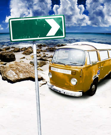 Copyspace Is On A Arrow Sign Located In A Retro Beach Landscape Image With A Vintage Van Parked On A Rocky Beach Coastline In A Getaway Adventure Conceptual