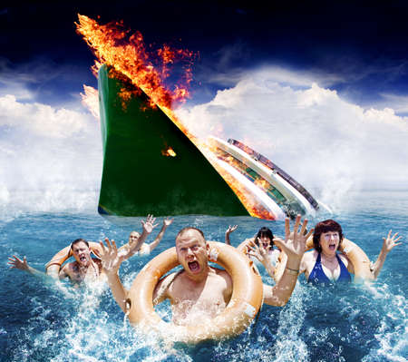 Trouble In Paradise Concept With Five Hysterical Tourists Wearing Life Rings Scream And Wave In The Ocean For Help And Rescue After An Accident Sinks Their Boat photo