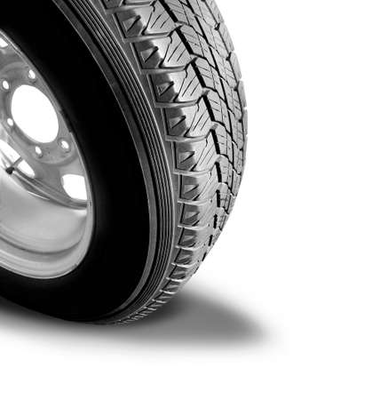 Make Tyre Tracks: Isolated Car Tyre With Dropshadow photo