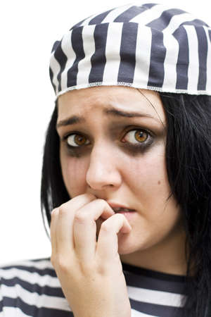 Crook Bites Her Nails While Crying From A Sever Case Of Jailhouse Blues Stock Photo - 12864130