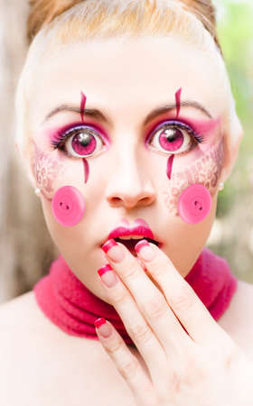 Creative Image Of A Surprised Female Doll Staring In Wide Eye Bewilderment With Hand To Mouth Expressing Shear Surprise Shock And Amazement Stock Photo - 12864195