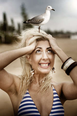 Fearful Beach Going Woman Scared Of Birds Has A Panic Attack When A Gull Lands On Her Head In A Surprise Shock And Fear Concept photo