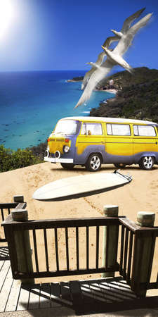 Beautiful Summer Surfing Landscape Of A Retro Beach Van And Surf Board On A Scenic And Picturesque Dune Overlooking The Ocean In A Sports And Seascape Concept