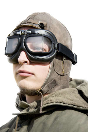 Isolated Portrait Of A Armed Forces Fighter Pilot photo