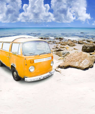 Surfing Beach Van Parked On A Beautiful Australian Beach Shore In A Outdoor Recreation And Active Surf Lifestyle Concept