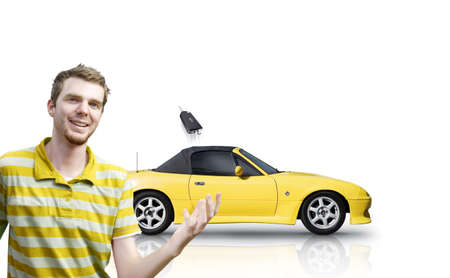 Over White Portrait Of A Happy Smiling Male Customer Throwing A Just Purchased Car Key In The Air After A New Car Purchase photo