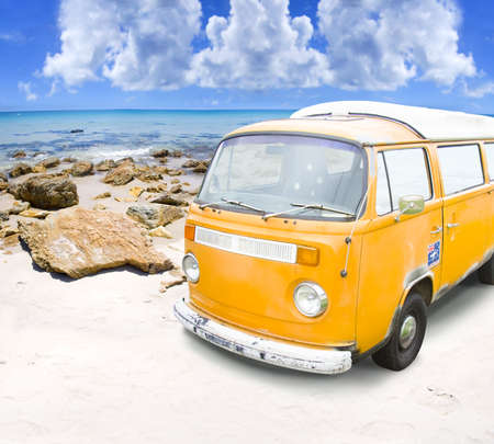 Retro Surf VW Van Or Combie Wagon Parked On A Humid And Temperate Tropical Paradise Island In A Outdoor Surfing Beach Holiday Concept Copyspace In Left Corner