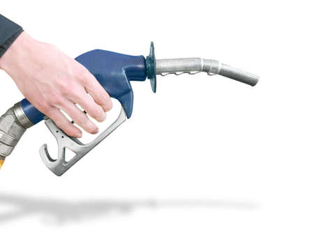 Hand Holding Gas Station Pump Refuelling Car Isolated On White Background photo