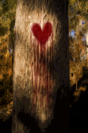 Environmental Artistic Illustration Of A Tree Wearing A Heart On Its Trunk, Bleeding Tears Of Blood And Heartache While Grieving From Its First Love Heartbreak illustration