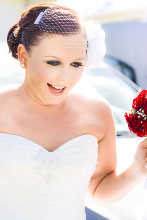 A Pretty Young Bride Wearing Birdcage Veil And Holding Red Roses Looking Excited And Animated On Her Wedding Day As She Heads To The Ceremony Stock Photo - 12864568