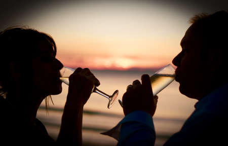 Husband And Wife Drink To Success While Toasting To The Dawn Of A New Day In A Champaign Celebration Stock Photo - 12311961