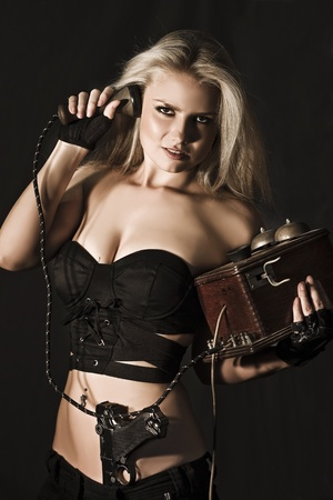 A Covert Undercover Operation See A Sexy Blond Secret Agent Cryptanalyst Covertly Listening In To Coded Messages In A Communication Mission To Uncover The Code Stock Photo - 12807511