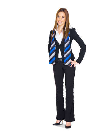 Isolated Studio Full Body Portrait Of An Attractive Confident Business Woman Standing Smiling With Hands On Hips In A Display Of Happy Business, White Background Stock Photo - 13126147