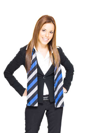 Confident Gorgeous Brunette Business Woman Fashioning A Blue Striped Scarf And A Professional Smile In A Successful Business And Job Confidence Concept On White Stock Photo - 13126315