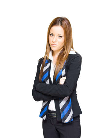 Ambitious Determined And Go Getting Business Woman Looking Ahead With An Arms Folded Expression Of Determination And Firm Resolute Resolve, Isolated Image Stock Photo - 13126180