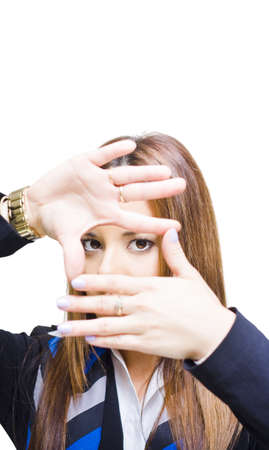 Business Professional Marketing Woman Looks Through Hand Gesture To Narrow And Define Her Target Market In A Targeted Consumerism And Demographics Conceptual Stock Photo - 13126338