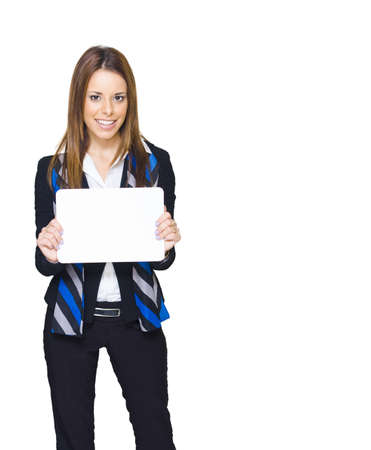 Gorgeous Young Brunette Business Woman Smiling While Displaying A Blank Copy Space Sign Or Empty Notice In A Branding And Advertising Agency Friendly Image photo
