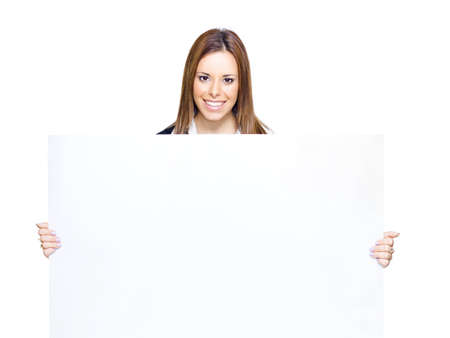Confident Young Business Person Holding Large Blank Copy Space Sign With Space For Text In A Promotional Add, Presentation Or Empty Sales Sheet, White Background Stock Photo - 13126136