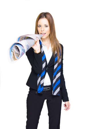 Business Woman Journalist Or Reporter Makes A Press Release Through A Rolled Up Newspaper In A In A Media And Communication Concept Isolated On White Background photo